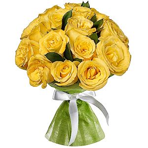 Букет из 15  жёлтых роз
