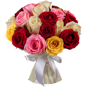 Букет из 21 разноцветной розы